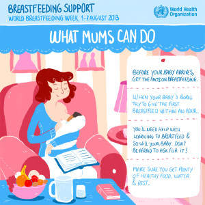 WHO szoptatást támogató plakátja anyáknak